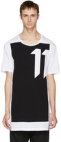 11 By Boris Bidjan Saberi White and Black blockcut Logo T-shirt