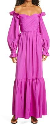 Self-Portrait Off the Shoulder Long Sleeve Taffeta Maxi Dress