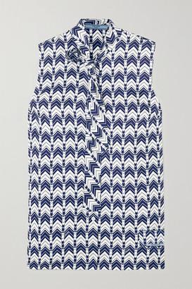Prada Pussy-bow Printed Silk-satin Blouse - Blue