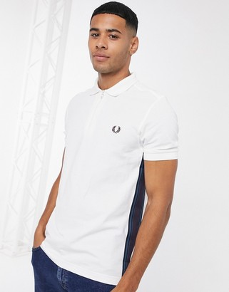 Fred Perry zip neck polo with taped side detail in white