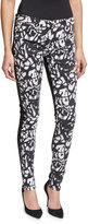 Nicole Miller Graffiti Scribbles Skinny Ankle Jeans, White/Black