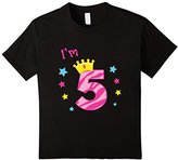 Kids I'm 5 Birthday T-Shirt Five-Year Old Gift Tee for Girls