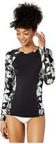 Roxy Fitness Long Sleeve Rashguard (True Black Story of Sunshine) Women's Swimwear