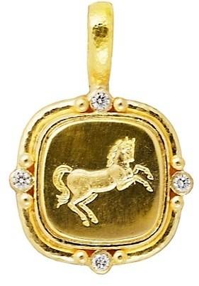 Elizabeth Locke Rearing Horse 19K Yellow Gold & Diamond Pendant