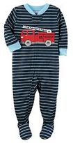 Carter's Baby Boy Fire Engine Striped Footed Pajamas