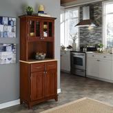 Home Styles Two-Drawer 31.25 in. W Cherry Buffet with Wood Top and Hutch