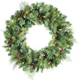 """Allstate 24"""" Madison Pine Pre-Lit Artificial Christmas Wreath - Clear Lights"""