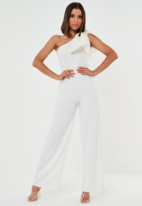 Missguided Scuba Bow One Shoulder Playsuit
