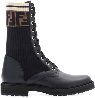 Fendi Leather Combat Boot with FF Cuff