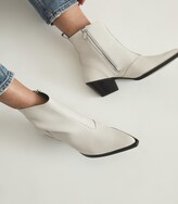 Thumbnail for your product : Reiss Hayworth - Leather Western Ankle Boots in White