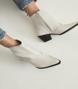Reiss Hayworth - Leather Western Ankle Boots in White