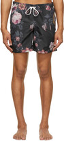 Thumbnail for your product : Bather Black & Multicolor Floral Ripple Swim Shorts