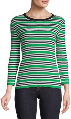 Tommy Hilfiger Three-Quarter-Sleeve Striped Ribbed Sweater