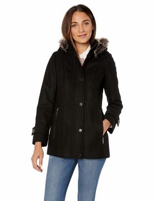 London Fog Women's Snap Front Short Wool Coat with Faux Fur Trim Hood