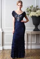 Terani Couture M1431 Sequined Cap Sleeves Ruched Sheath Long Gown