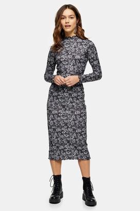 Topshop Womens Petite Grey Print Cut And Sew Midi Dress - Grey Marl