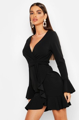 boohoo Frill Sleeve Tie Waist Ruffle Hem Tea Dress