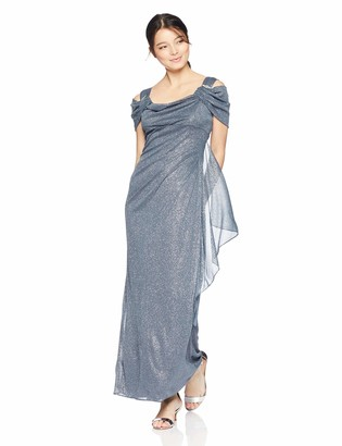 R & M Richards R&M Richards Women's One PCE Long Petite Matte Chiffon Cowl Bodice Dress