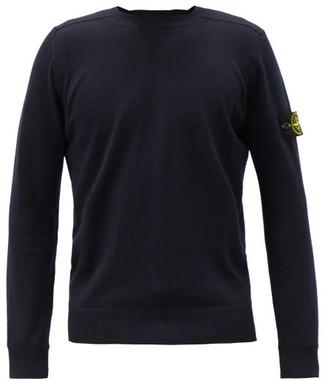 Stone Island Logo-patch Wool Sweater - Navy
