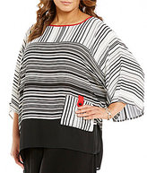 IC Collection Plus Round Neck 3/4 Sleeves Striped Pocket Tee