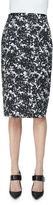 Michael Kors Floral-Print Pencil Skirt, Black/White