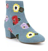 Betsey Johnson Twiggy Floral Embroidery Denim Flower Booties