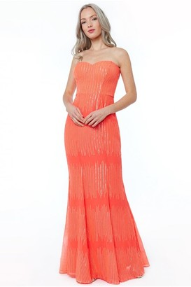 Goddiva Coral Sequin Bandeau Maxi Dress