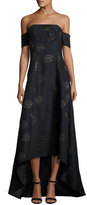 Sachin + Babi Off-the-Shoulder Embroidered High-Low Gown, Lapis