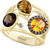 Effy Sienna by Multi-Gemstone (3-1/2 ct. t.w.) and Diamond (1/6 ct. t.w.) Openwork Statement Ring in 14k Gold