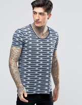 Scotch & Soda T-Shirt With Scoop Neck In With Geometric Stripe In Stretch Slim Fit In Navy/Mint
