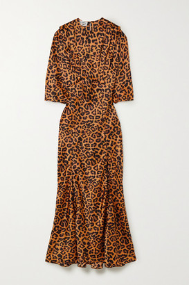 ATTICO Leopard-print Satin Midi Dress