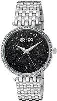 SO&CO New York Women's 5080.2 SoHo Quartz Crystal Filled Black Dial Stainless Steel Link Bracelet Watch