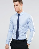 Asos Skinny Shirt In Blue With Long Sleeves And Navy Tie Set
