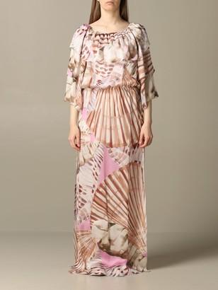 Blumarine Long Dress In Printed Silk Twill