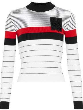 MSGM Appliqued Striped Ribbed Cotton-blend Sweater