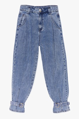 Nasty Gal Womens Wash On Your Mind Buckle Mom Jeans - Blue - S