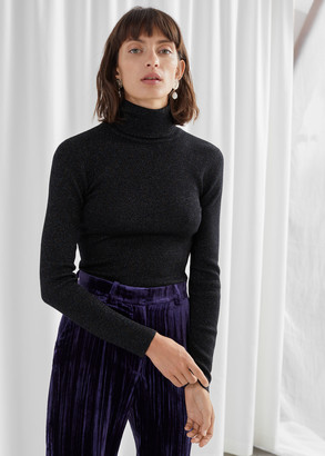 And other stories Glitter Ribbed Stretch Turtleneck Sweater