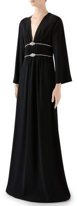 Gucci Long-Sleeve Jersey V-neck Gown With Crystal Embroidered Waist