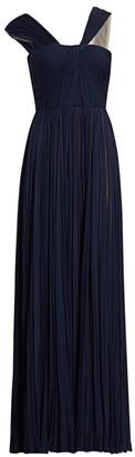 J. Mendel Asymmetric Pleated Silk Gown