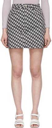 ALEXACHUNG Black and White Denim Check Miniskirt