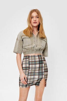 Nasty Gal Womens Tell 'Em to Slit Down Check Mini Skirt - Beige - 6