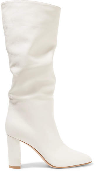 Gianvito Rossi Laura 85 Leather Knee Boots - Off-white