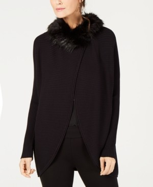 Alfani Faux-Fur-Trim Cardigan, Created for Macy's