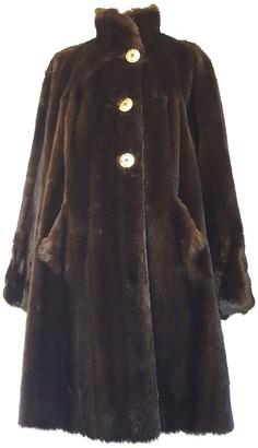 Balmain Brown Faux fur Coat for Women Vintage
