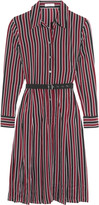 Equipment Shields belted striped washed-silk dress