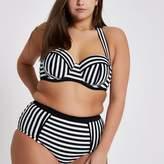 River Island Womens Plus white mono stripe halter bikini top