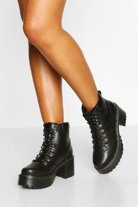 boohoo Chunky Platform Block Heel Hiker Boots