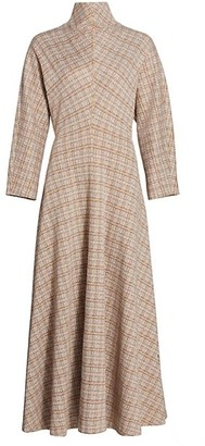 Rosetta Getty Funnelneck Woven Plaid Dress
