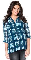 Wendy Bellissimo Three-Quarter-Sleeve Plaid-Print Maternity Shirt