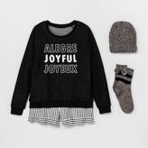 Xhilaration Women's Joyful 4pc Gift Pajama Set Black